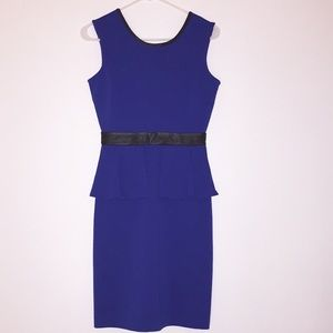 LIMITED peplum dress with faux leather trim
